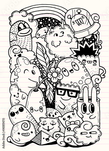 Hipster Hand drawn Crazy doodle Monster garden,drawing style.Vector illustration
