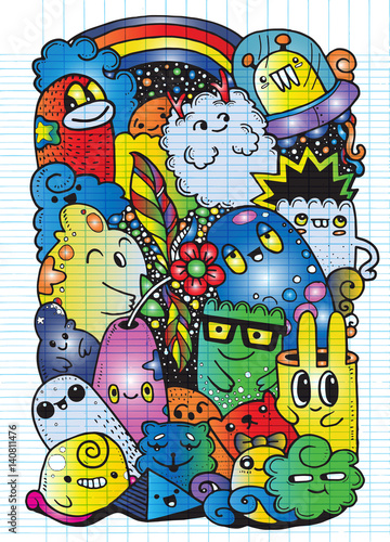 Hipster Hand drawn Crazy doodle Monster garden,drawing style.Vec