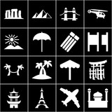 Set of 16 tourism filled icons