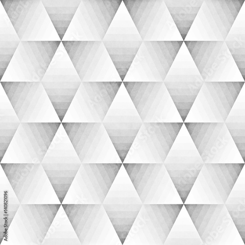Seamless Monochrome Pattern. Grungy Geometric Shapes Tiling. - 140821096