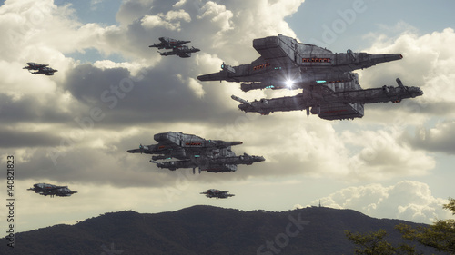 Foto op Canvas 3d rendering. Spaceship UFO concept