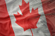 colorful waving national flag of canada on a american dollar money background. finance concept