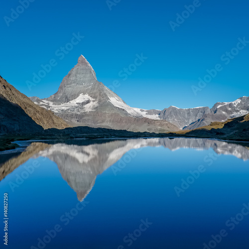 Poster View on Matterhorn reflected in Lake  Riffelsee, near Zermatt, Switzerland