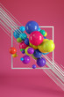 Multicolored decorative balls. Abstract illustration. 3D rendering