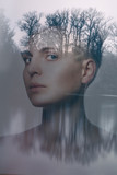 double exposure portrait of a beautiful young woman, dark nature