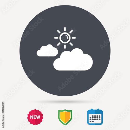 Cloud with sun icon. Sunny weather symbol. Calendar, shield protection and new tag signs. Colored flat web icons. Vector