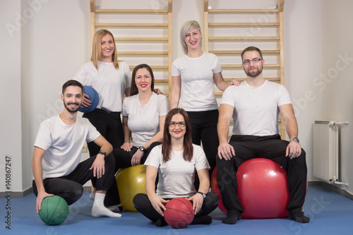 large group people, Physiotherapists chiropractors Poster