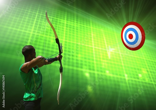 Poster Man aiming with bow and arrow at target