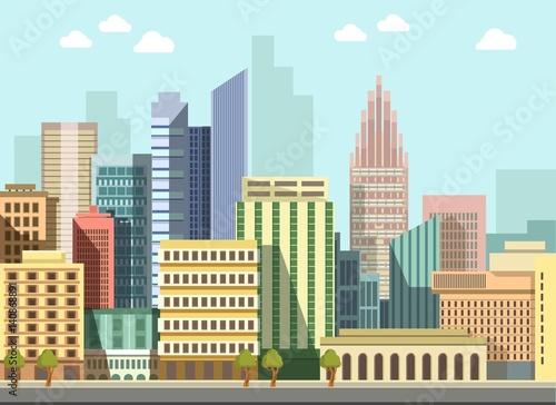 Modern urban city landscape vector flat day panorama buildings