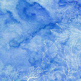 Seaweed on a blue watercolor background. Vector illustration with space for text. Invitation, greeting card or an element for your design. - 140878612