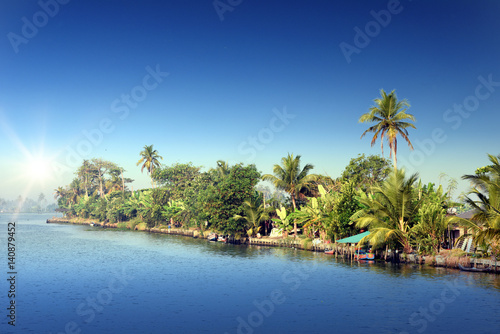 sunrise at backwaters landscape with saying coconut trees and traditional house boats in Alleppey, Kerala, India