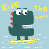 funny cartoon dinosaur skater, illustration, vector