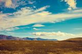Mountain landscape with blue cloudy sky. Beautiful nature norwegian lapland. Polar circle, Nordkapp
