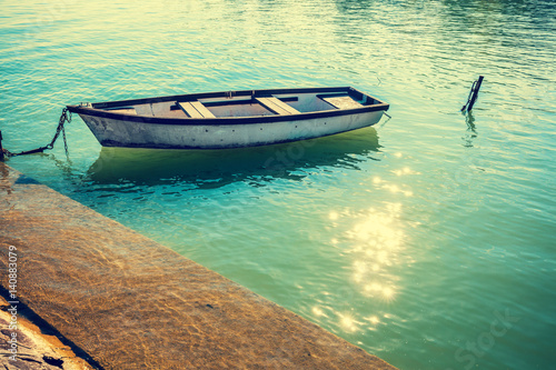 Landscape with lake and boat. Boat near pier Poster