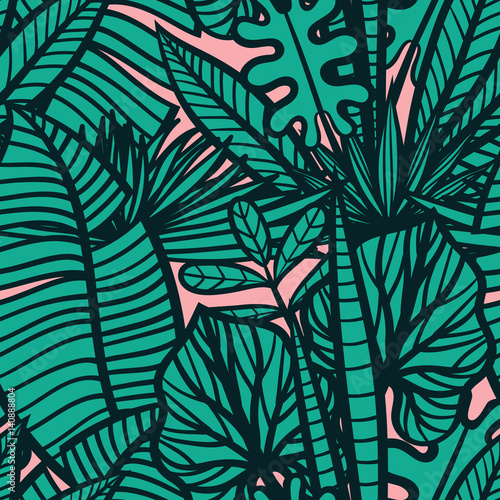 Materiał do szycia Colorful tropical pattern with exotic plants. Seamless vector tropical pattern with leaves.