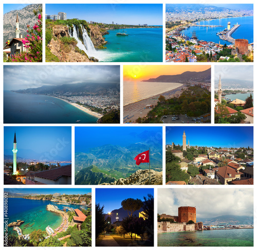 Stampa su Tela Collage of landmarks of Turkey: Alanya cityscape and views of famous Cleopatra's
