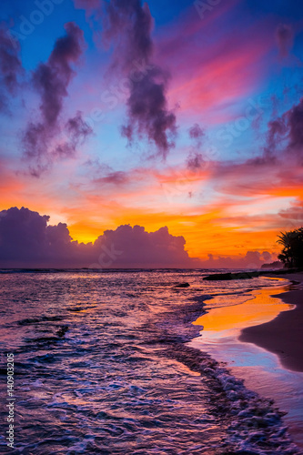 Foto op Canvas Aubergine Bright colorful cloudy sky over the wild beach at sunset. Indian ocean shore, Sri Lanka.