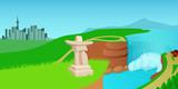 Canada landscape horizontal banner, cartoon style