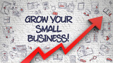 Fototapety Grow Your Small Business Drawn on White Brick Wall. 3d.