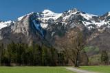 Gebirge über dem Rheintal im Frühling