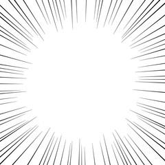 漫画・コミック風集中線フレーム 白背景 コピースペース 正方形
