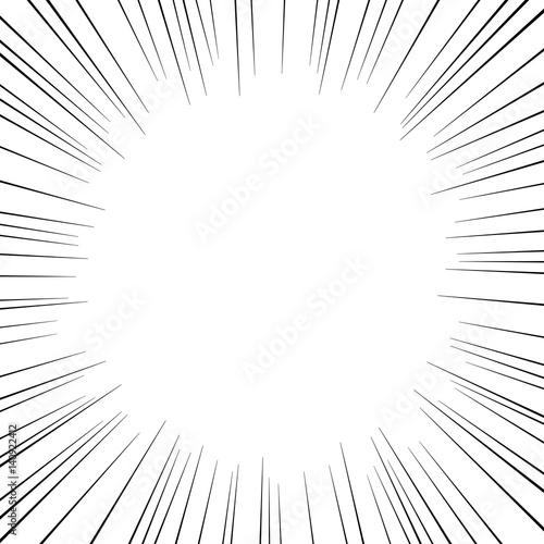 漫画・コミック風集中線フレーム 白背景 コピースペース 正方形 - 140922412