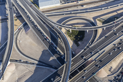Aerial view of downtown Las Vegas interstate 15 freeway interchange known locally as the spaghetti bowl Poster