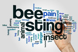 Bee sting word cloud concept on grey background