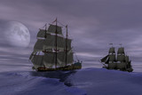 3d rendering of pirate ships scene at high sea - 140938006