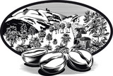 oval frame, with coffee beans and coffee bin man on a plantation.
