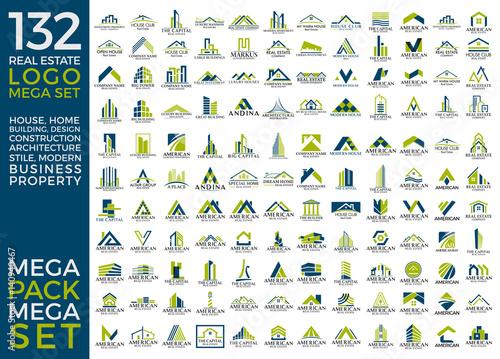 Mega Set and Big Group, Real Estate, Building and Construction Logo Vector Design Eps 10 - 140940467