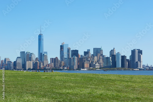 Poster New York city skyline and green meadow, blue sky in a sunny day