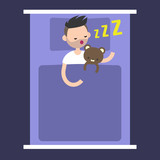 Top view: Young bearded man sleeping with his teddy bear in bed / editable flat vector illustration