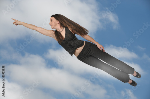 Poster Woman Flying Through the Sky