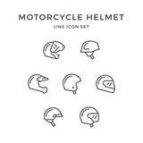 Fototapety Set line icons of motorcycle helmet