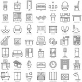 Room furniture linear icons set - 140959047