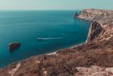 Crimea, Cape Fiolent. The tourist boat departs from Jasper beach.