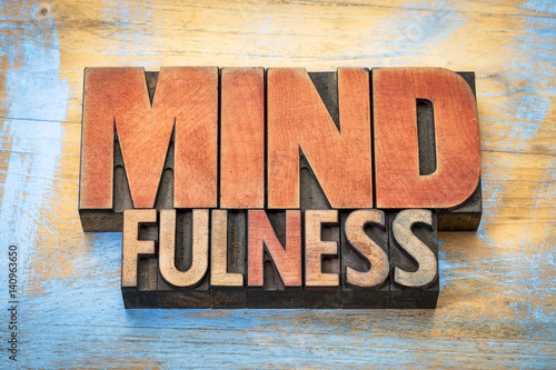 mindfulness word abstract in vintage wood type