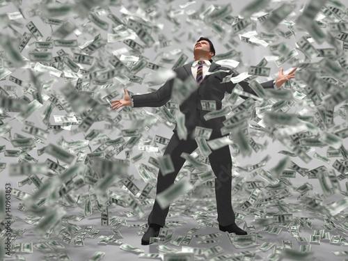 man under the money rain