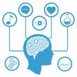 head brain gear information media vector illustration eps 10