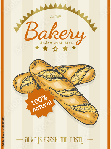 Vector poster with a bread product in a sketch style