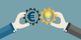 Hands Gears Idea Bulb Euro Investor Concept - 141008847
