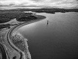 Black and white aerial view of Cardinia Reservoir lake and rural surroundings. Melbourne, Victoria, Australia