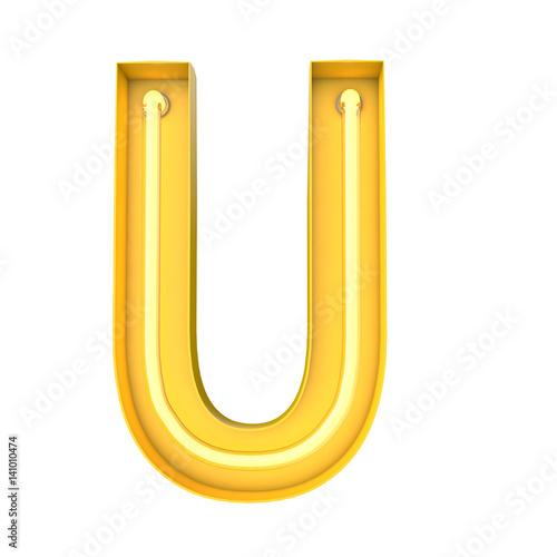 Neon style light letter U. Glowing neon Capital letter. 3D rendering