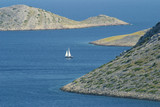 lone sail yacht between Kornati islands, Croatia