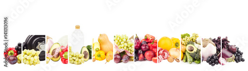 Different sets of fruits and vegetables, isolated