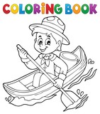 Coloring book water scout boy theme 1