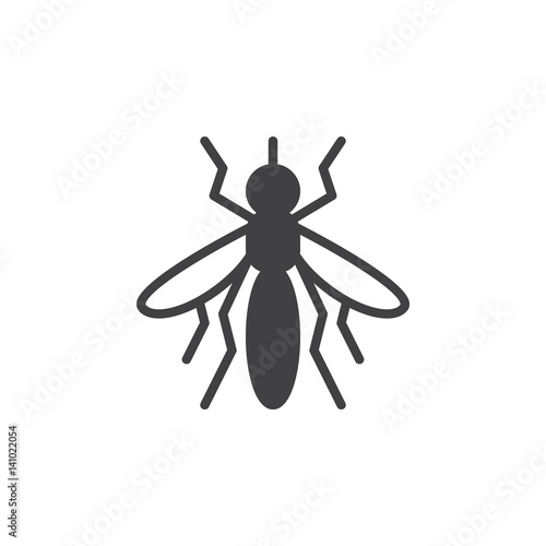 Mosquito icon vector, filled flat sign, solid pictogram isolated on white. Symbol, logo illustration. Pixel perfect - 141022054