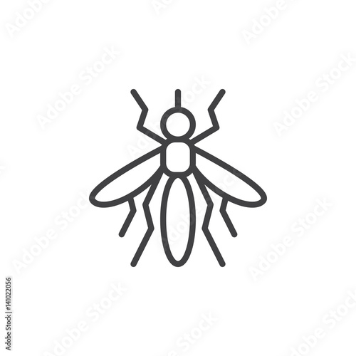 Mosquito line icon, outline vector sign, linear style pictogram isolated on white. Symbol, logo illustration. Editable stroke. Pixel perfect - 141022056