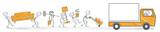 Umzugshelfer tragen Möbel zum Umzugswagen - 141022656